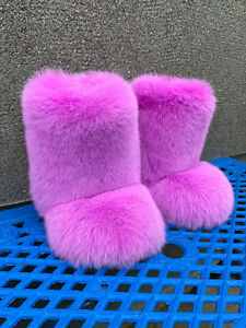 Double-Sided Arctic Fox Fur Boots For Outdoor Eskimo Fur Boots Candy Pink Color