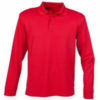 Mens Polyester Pique Polo Shirt Golf Long Sleeve Sports Breathable Training Top