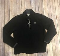 VS PINK Womens Black 1/2 Zip Pull Over Sweater Sherpa Medium