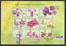 Taiwan   2010   Sc # 3966   Orchids   Sheet of 9   MNH   (54649)