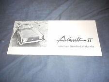 1966 Studebaker Avanti II Original Color Brochure Prospekt
