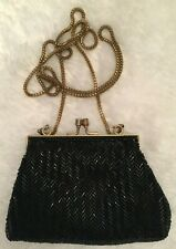 Vintage Art Deco Era Herringbone Beaded Evening Shoulder Bag Coin Purse Black