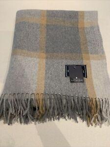 House Balmoral Grey Mustard Check Wool Scottish Blanket Tartan Large Throw Rug
