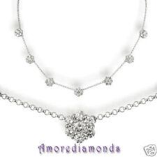 "5.4 ct F VS2 49 round ideal diamond 7 flower fashion necklace 14k white gold 18"""