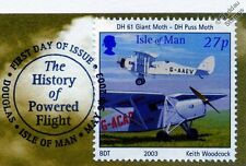 DH.61 Giant Moth DH.80A Puss Moth AVION TIMBRE FDC 100 Years of Powered Flight