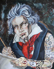 LEX outsider surrealism Pop Tattoo BEETHOVEN SyMphonY BIG OriGiNAL PAINTING Nr