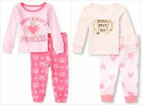 NWT The Children's Place Worlds Best Kid Mommy Daddy Princess Girls Pink Pajamas