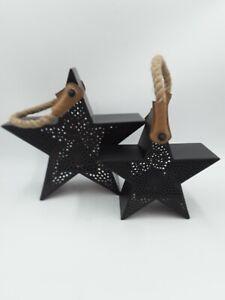 Hallmark Rustic Metal star Robe Handle tea light holders set of 2 candles
