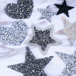 Crystal Rhinestone Star Patches DIY Motif Iron On Patch Applique For Clothes Bag