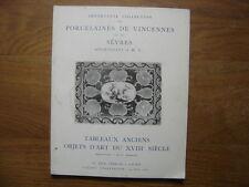 Catalogue de Vente aux Encheres 1960 PORCELAINES VINCENNES SEVRES TABLEAUX