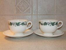 WEDGWOOD CHINA STRATFORD PATTERN EDME SHAPE PAIR CUPS AND SAUCERS