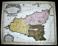 1692.Antica Mappa Geografica LA SICILE-SICILIA Par SANSON - HUBERT JAILLOT.ETNA.