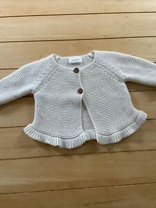 Next Baby Girls 0-3months Ivory Knitted Cardigan With Frill Immaculate