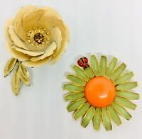 Signed Weiss and Coro Enamel Brooches Daisy Ladybug Vintage Jewelry