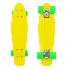 "Retro 22"" Cruiser Yellow Skateboard Complete Deck Mini Plastic SkateBoard"