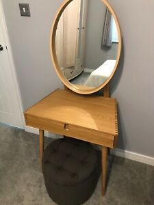 Solid oak MADE dressing table with mirror and grey storage stool