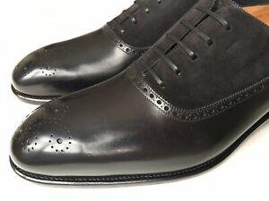 Salvatore Ferragamo Piacenza Black Suede Leather Tramezza Oxford 10.5 EE $2500