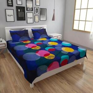 Polycotton Bed sheet with Two Pillow Covers 160 TC Multicolor Size Double