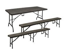 Set tavolo con panche Birreria Rattan Party HDPE Marrone CM 180X75 H74