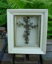 Antique Victorian Mourning Hair Art CROSS in Shadow Box