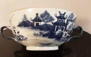Vintage Blue Chinese Export Porcelain 2 Handle Bowl Nanking Deco.  #SL