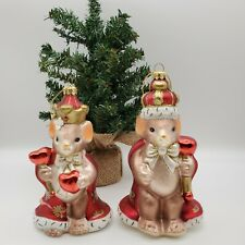 Fitz and Floyd, Charming Tails King & Queen of My Heart Set, Glass Ornament 6� 5