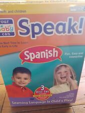 NEW Your Baby Can Speak Spanish 3 disc Set 2 DVDs 1 CD & 104 read language cards