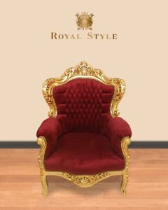 Barock Sessel bordeaux rot gold antik design luxus design Möbel Lounge Sitzmöbel