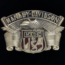 Harley Davidson Eagle Bar Shield Brass Motorcycle Biker 1980 Vtg Belt Buckle