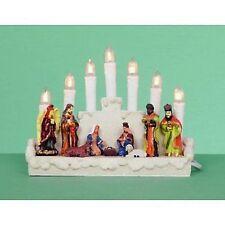 7 lumière crèche Blanc candélabre Noël Jésus Décoration de Noël