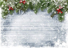 7x5ft Wood Wall Backdrop Christmas Photography Backdrops for White Snow