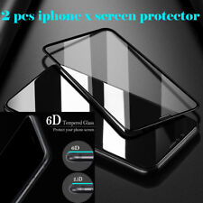 2 x Full Coverage 6D Curved iPhone X Screen Protector Guard HD Tempered Glass