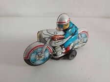 Tin toy friction police motorcycle car Japan Vintage 1960's works