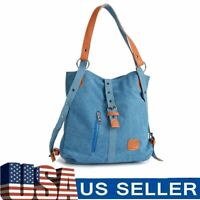 Women Canvas Handbag Large Messenger Casual Travel Purse Tote Shoulder Bag Blue