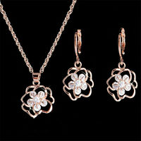 Gold Plated Clear Cubic Zirconia Flower Jewelry Set Woman Hoop Earrings Necklace
