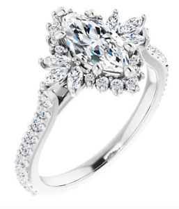 14kt Gold Marquise Moissanite Engagement Ring/ Proposal Ring S123770
