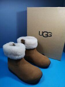 Girls Ugg T Jorie II Chestnut Suede 100 %Wool Boots size uk 7 eur 25 us 8