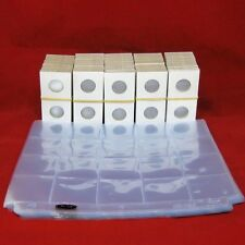 500 Cardboard 2x2 Mylar Coin Holders for Quarters with 25 Pocket Pages