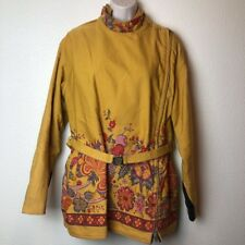 Val Hughes Womens Yellow Floral Quilted Vintage 1970s Canada Ski Jacket Lg