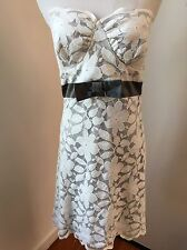 ANTHROPOLOGIE Wendy Katlen Women's Strapless White Lace Dress Gray Bow Sz 2