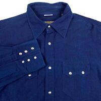Moreno Martini Blue Western Long Sleeve Metal Snap Button Shirt Italy - Mens XL