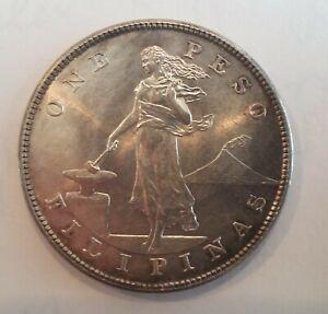 Rare 1904 Philippines P-mint Large Silver 1 Peso- super nice