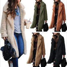 Women Jacket Ladies Long Teddy Bear Cardigan Coat Faux Fur Winter Warm Outwear