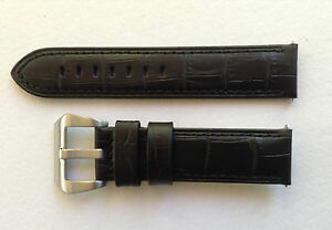 CALF WATCH STRAP - BLACK ALLIGATOR GRAIN 22MM & 24MM FOR PANERAI/U BOAT/TW STEEL
