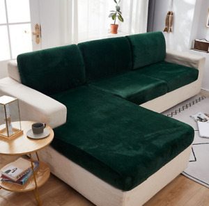 Green Fitted Sofa Slip Cover Chair Couch Slipcover Furniture Protector Velvet
