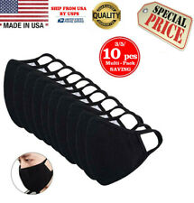 Washable 100% Cotton Face Mask Reusable, Black 3/5/10 Pcs in 1 Pack, MADE IN USA