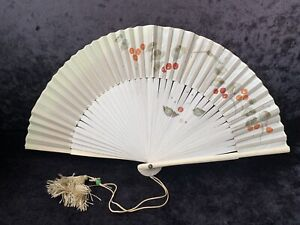 Vintage Hand Painted Fan In Wooden Box