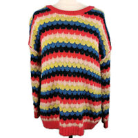 Topshop Size 8 10 12 Multicoloured Striped Wool Blend Knitted Slouchy