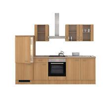 Küchenzeile mit E-Geräten Küchenblock Elektrogeräte Einbauküche 270 cm buche
