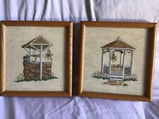 "WISHING WELL & GAZEBO Cross Stitch Set Of 2 Finished & Framed 8 1/2"" X 8 1/2"""